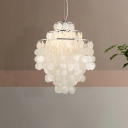 Silver Tiered Fringe Pendant Light French Country Shell 1 Bulb Dining Room Hanging Lamp, Small/Medium/Large