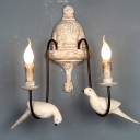 Distressed White 1/2-Bulb Wall Light Rural Wood Candle Style Wall Sconce with Bird Decor