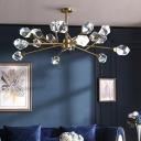 9/12/15-Light Beveled Crystal Ceiling Hang Lamp Postmodern Brass Branchlet Living Room Chandelier