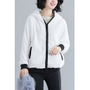 Winter Warm Jacket Contrast Trim Brushed Side Pockets Zip Fly Long Sleeves Regular Fitted Panda Ear Hooded Jacket