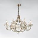Nickel Globe Chandelier Light Rural Crystal 4/6/8-Head Dining Room Pendant Lamp with Candle Design