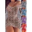 Sexy Women's Bodycon Dress All over Leopard Pattern off the Shoulder Long-sleeved Slim Fitted Short Bodycon Dress