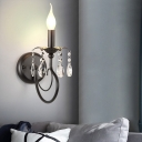 Metal Faux Candle Wall Lamp Rustic 1 Head Living Room Wall Mount Light in Black with Crystal Drop