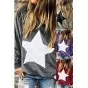 Fancy Women's Sweatshirt Star Stripe Print Velvet Banded Trim Crew Neck Long-sleeved Relaxed Fit Sweatshirt