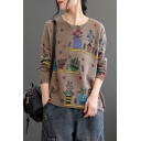 Creative Womens T-Shirt Flower Vase Pattern Crew Neck Long Sleeve Loose Fitted Bottoming Sweater