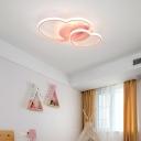 Loving Heart Bedroom Ceiling Fixture Acrylic Modern Small/Large LED Flush Mount Light in Pink/Black/White