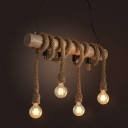 Wood Beam Hanging Island Light Cottage 4-Light Restaurant Drop Pendant with Dangling Rope in Brown