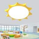 Sun Shaped Nursery Flush Light Acrylic 26