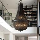 Modern Empire Chandelier Aluminum Chain Dining Room LED Pendant Light Fixture in Bronze