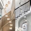 Cube Multi Pendant Light Modern Prismatic Crystal 3/5/9 Bulbs Black/Gold Suspension Lamp for Living Room