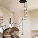 Cylindrical Crystal Prism Cluster Pendant Modern 6/9 Lights Black Ceiling Hang Lamp for Loft House