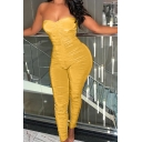 Gorgeous Solid Color Ruched Strapless Ankle Length Skinny Tube Jumpsuit for Ladies