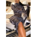 Ladies Fancy Patterned Sheer Mesh Long Sleeve High Neck Mid Bodycon Dress