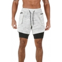 Fancy Mens Shorts All over Camo Printed Zip Pocket Drawstring Waist Fully Lined Double-Layered Regular Fitted Active Shorts