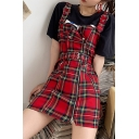 Red Checked Printed Ribbon Panel Straps Zipper Front Mini A-Line Overall Dress