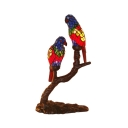 2 Bulbs Parrot Table Light Tiffany Red and Blue Hand Cut Glass Night Lamp with Naked Branch Base