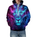 Cool Mens Hoodie Lion Mixed Cartoon 3D Pattern Long Sleeve Pouch Pocket Loose Fit Hoodie