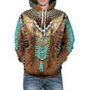 Unique Mens Hoodie Tribal Feather Wolf Dog 3D Printed Long Sleeve Drawstring Loose Fit Hoodie