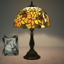Yellow Sunflower and Butterfly Night Lamp Tiffany 1 Bulb Stained Art Glass Table Light