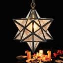 3D Star Pendant Light Fixture Vintage Clear Ripple Glass Single Black Hanging Ceiling Lamp