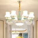 Frosted Glass Curved Shade Pendant Traditional 6/12/18 Bulbs Dining Room Chandelier Lighting in White