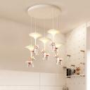 Cartoon 1/3/5-Light Pendant Lamp White Carousel LED Multi Hanging Light with Acrylic Shade