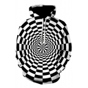Creative Men's Hoodie 3D Pattern Black White Dizziness Front Pocket Long-sleeved Relaxed Fit Drawstring Hooded Sweatshirt