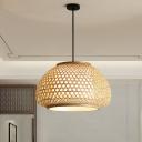 Crisscrossed Weaving Dome Pendant Asian Bamboo 1 Light Restaurant Suspension Lighting in Wood, Small/Large