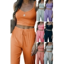 Ladies Sexy Set Solid Color V-neck Ribbed Cropped Cami Top & Pants Set