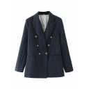 Retro Women's Suit Jacket Plain Double Breasted Shoulder Pads Pocket Notched Lapel Collar Long Sleeved Regular Fitted Suit Jacket