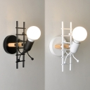 Art Deco Little Ladder Man Wall Light Iron 1 Head Dining Room Sconce Lamp in Grey/White/Black with Open Bulb Design
