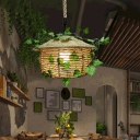 1 Head House Shaped Drop Pendant Rustic Beige Hemp Rope Hanging Light with Decorative Ivy
