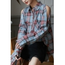 Leisure Women's Shirt Blouse Plaid Pattern Button Closure Cold Shoulder Turn-down Collar Chest Pocket Long Sleeves Regular Fitted Shirt Blouse