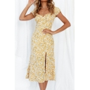 Glamorous Womens Dress Ditsy Floral Print Sweetheart Neck Slit Midi A-line Dress in Yellow