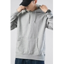 Casual Hoodie Plain Long Sleeve Drawstring Pouch Pocket Relaxed Fit Hoodie for Boys