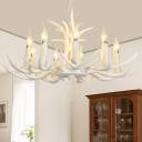 White Candle Chandelier Light Fixture Cottage Resin 4/8/12-Head Dining Room Suspension Lamp with Antler Deco