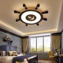 Acrylic Rudder Shaped Ceiling Light Kids Style Blue Flushmount Lighting in Warm/White Light, 23