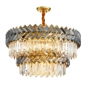 1/2-Tier Restaurant Ceiling Pendant Clear and Smoky Crystal 18/21/24 Lights Postmodern Chandelier in Stainless Steel, 23.5