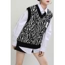 Trendy Women's Knit Vest Stripe Pattern Contrast Trim V Neck Sleeveless Relaxed Fit Knit Vest
