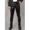 Men's Popular Fashion Solid Color Slim Fit Black PU Leather Biker Pants