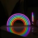 White Mini Wall Night Light Cartoon Plastic Battery LED Table Neon Lighting for Bedroom