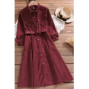 Casual Womens Dress Long Sleeve Turn Down Collar Button Up Belted Mid A-line Shirt Dress in Red