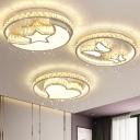 Modern Geometric LED Flush Ceiling Light Clear Crystal Bedroom Flush-Mount Light in Stainless Steel
