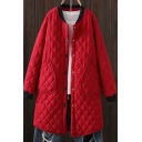 Leisure Womens Coat Plain Quilted Long Sleeve Press Button Longline Relaxed Coat