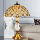 Hand-Cut Glass Trellis Table Lamp Baroque 1 Head Beige Night Stand Light with Crystal Font