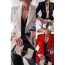 Formal Ladies Plain Blazer Long Sleeve Notched Collar Double Breasted Regular Blazer
