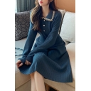Girls Lovely Dress Ribbed Long Sleeve Spread Collar Button Up Midi A-line Dress