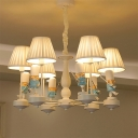 Gathered Fabric Tapered Chandelier Kids Ceiling Suspension Lamp with Soldier Deco