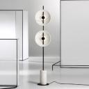 Novelty Postmodern Round Standing Floor Lamp Marble Lounge LED Floor Light in White