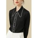 Elegant Ladies Shirt Contrast Pipe Long Sleeve Point Collar Pearl Button Regular Fit Shirt